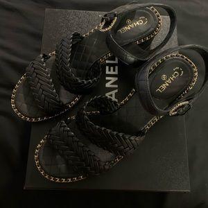 Chanel Black Weave Chain Block Heel Sandals